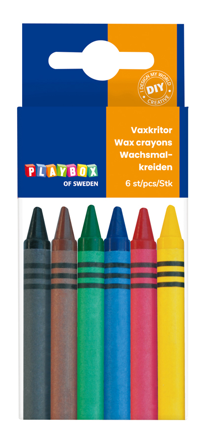 Wax crayon 6 pcs thin