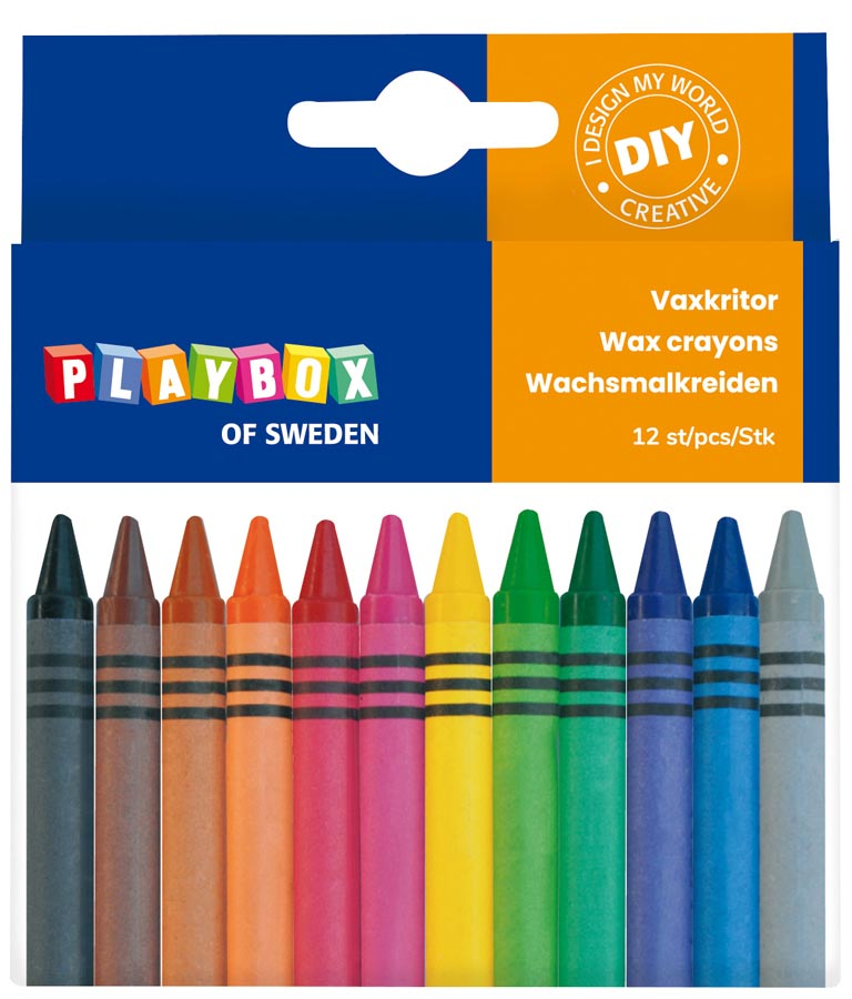 Wax crayon 12 pcs thin