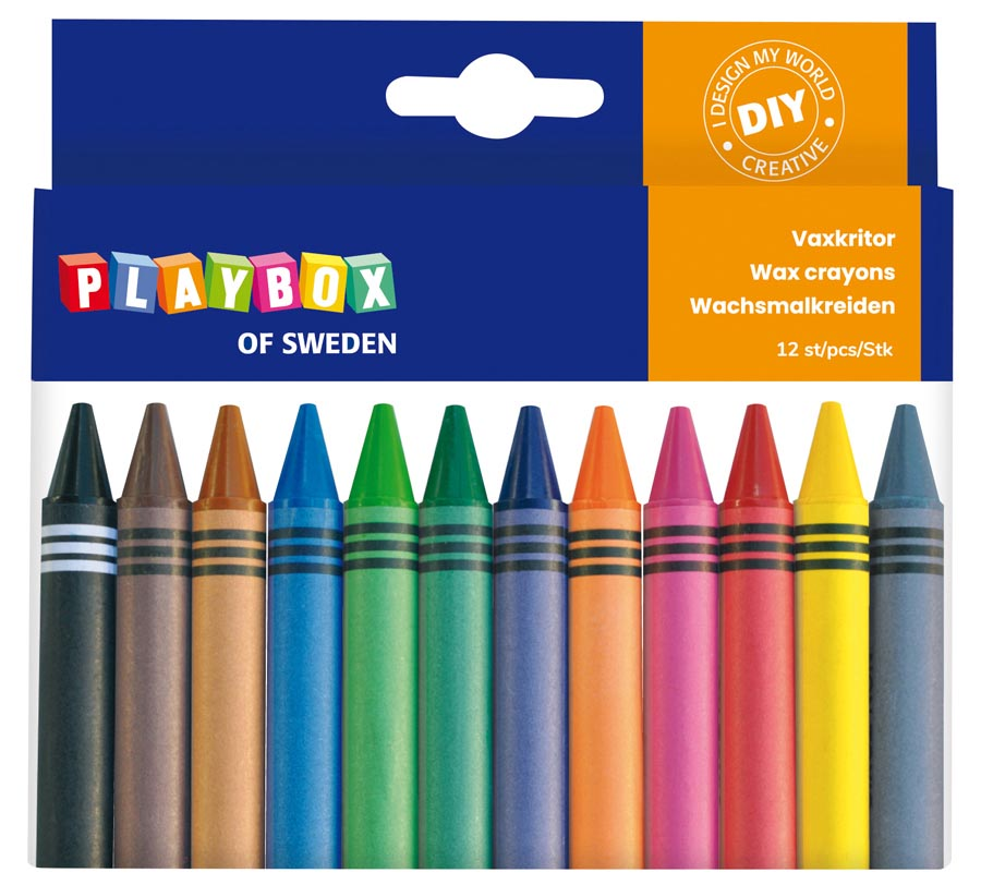Wax crayon 12 pcs thick