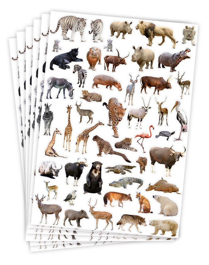 Stickers wild animals 300 pcs 6 sheets