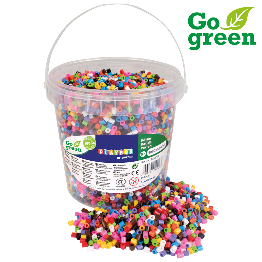 Ironing beads I´m green 10-colour mix 5000 pcs in bucket
