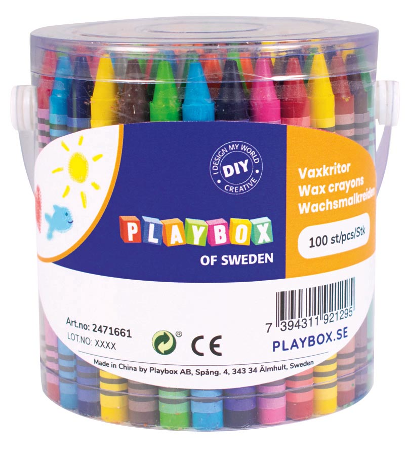 Crayons in bucket 100 pcs