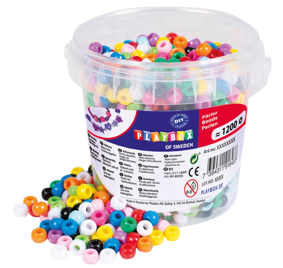 Plastic beads in bucket kongo mix including elastic string white 5 m 1