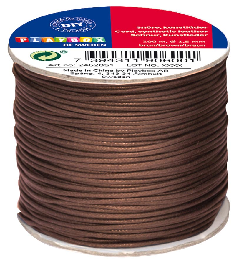 Cord synthetic leather brown 100 m