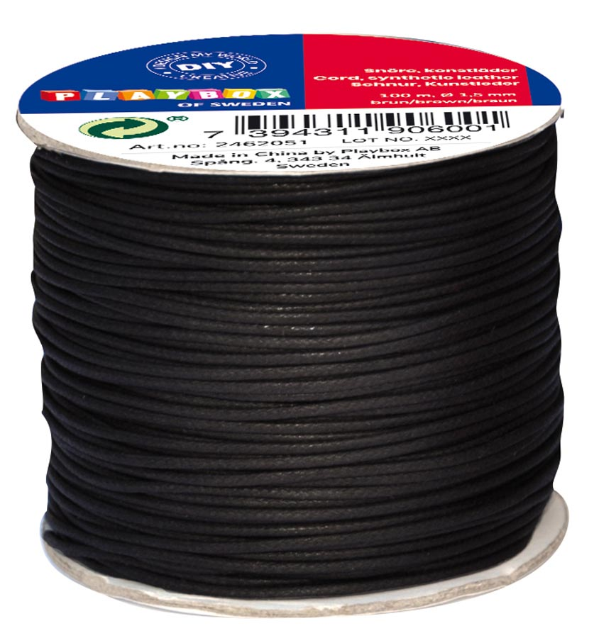 Cord synthetic leather black 100 m