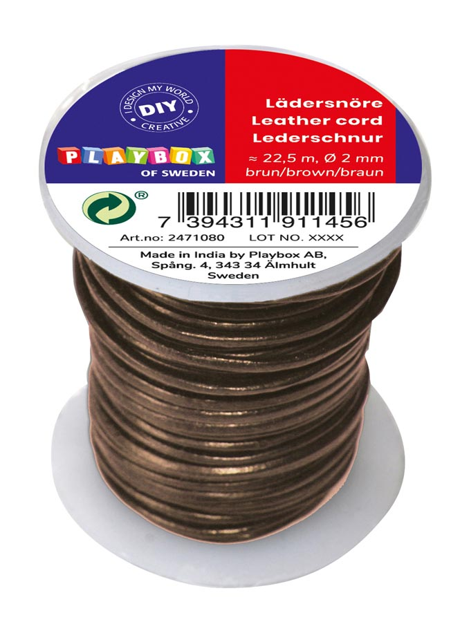 Leather cord 22,5 mm x 2 mm brown