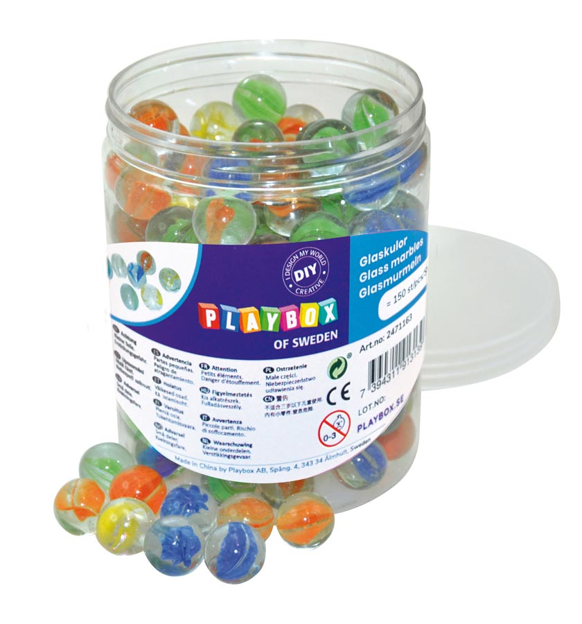 Glass marbles 16mm 150pcs in bucket