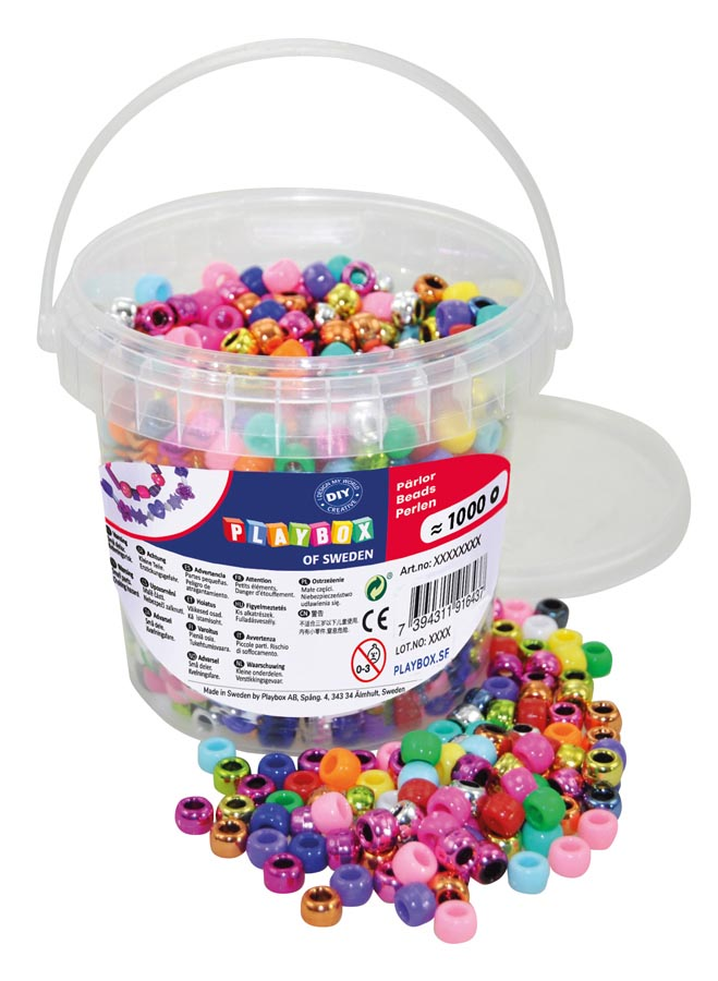 Kongo beads in bucket, 1000 pcs