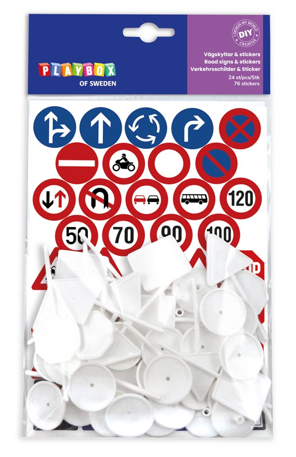 Road signs & stickers 24 pcs & 76 stickers