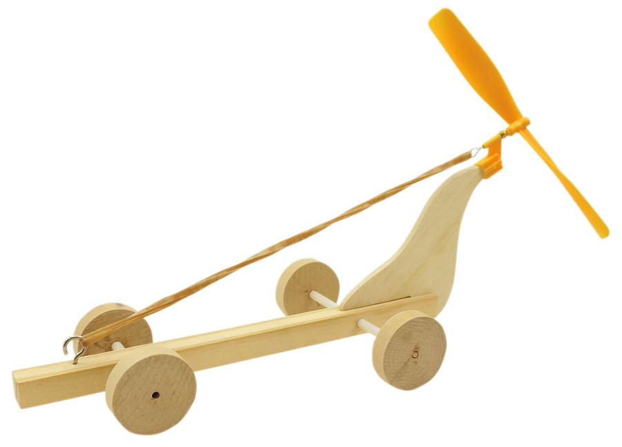 Wooden car with propeller 6 pcs
